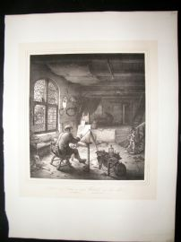After Adrian van Ostade C1840 LG Folio Print. The Painter in his Workshop